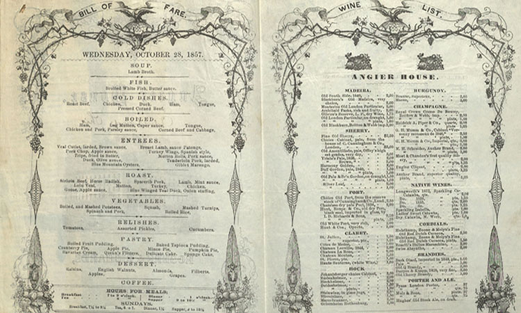 1850s and 1860s Hotel and Restaurant Menus